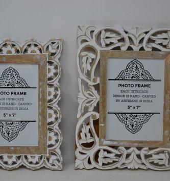 Hand Carved Wooden Whitewashed Frame (2-Styles)