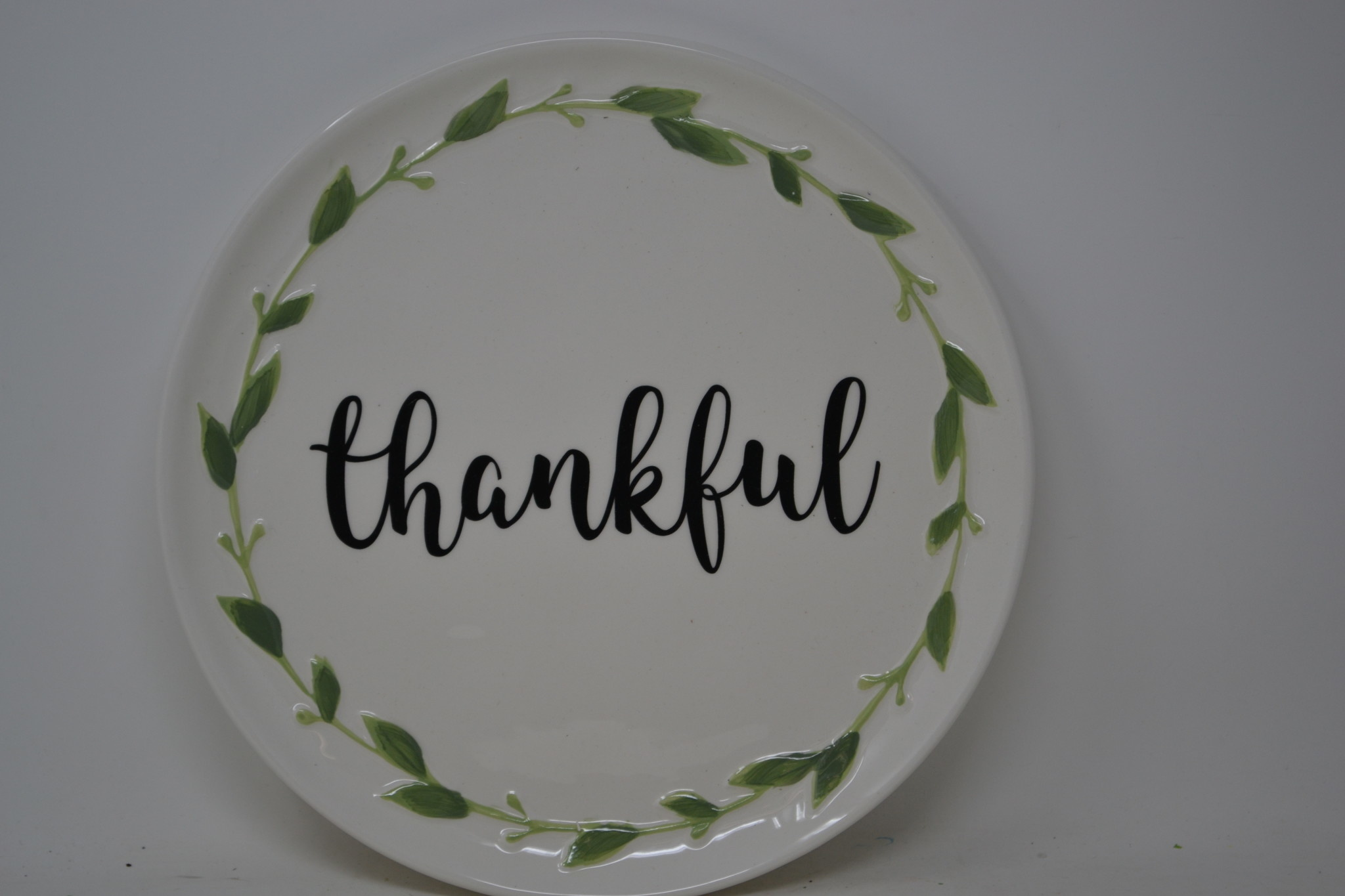 Round Foliage Thankful Platter