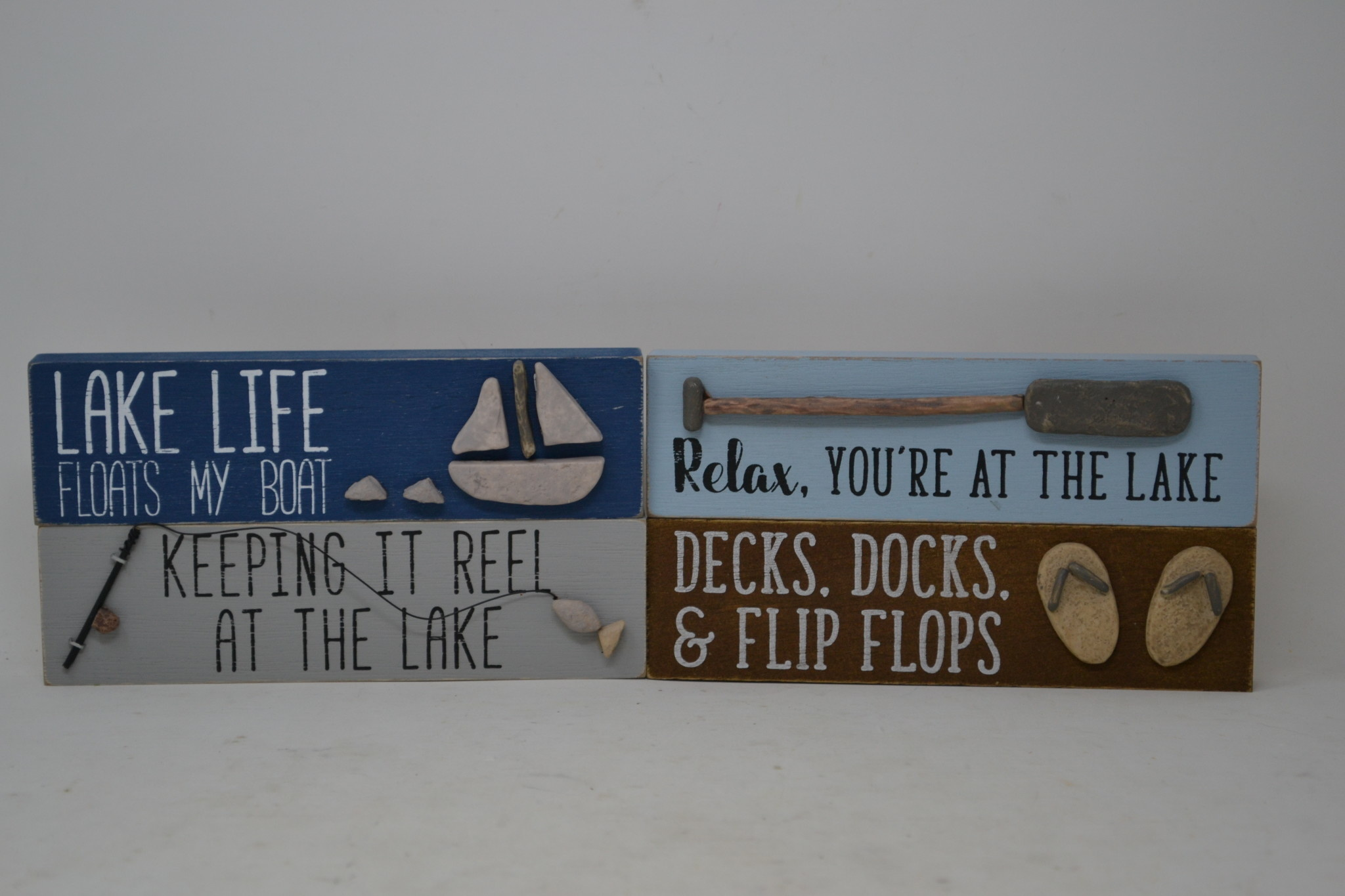 Lake Block Sign with Rocks (4-Styles)