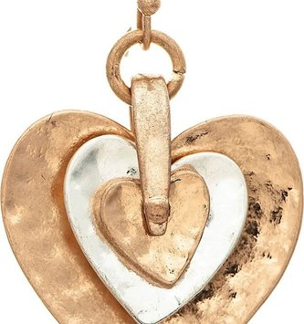 Gold & Silver Layered Heart Earrings