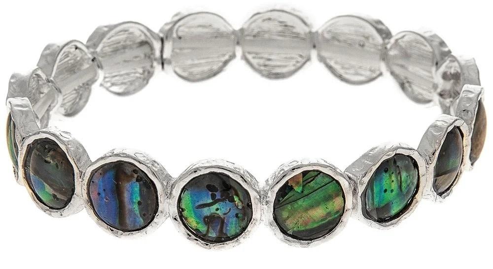 Abalone Silver Circles Bracelet