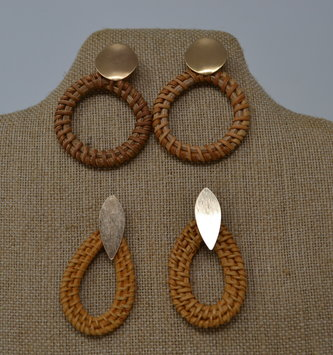 Gold Rattan Earrings (2-Styles)