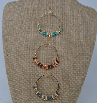 Seed Bead Gold Hoop Earrings (3-Colors)
