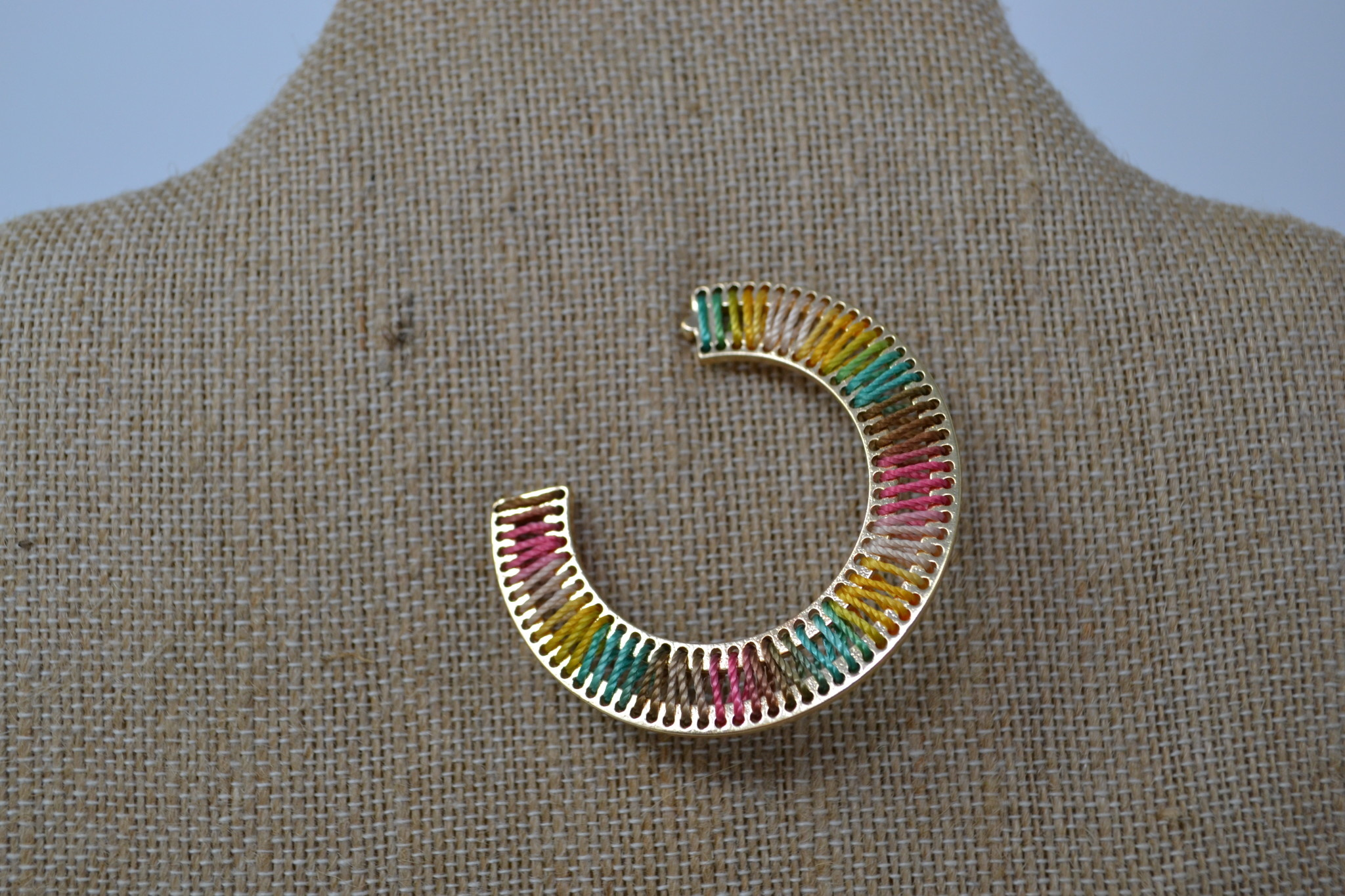 Woven Multicolor Open Hoop Earrings (3-Styles)