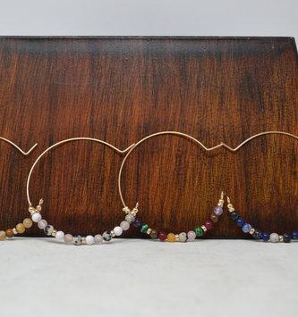 Beaded Gold Hoop Earrings (4-Colors)