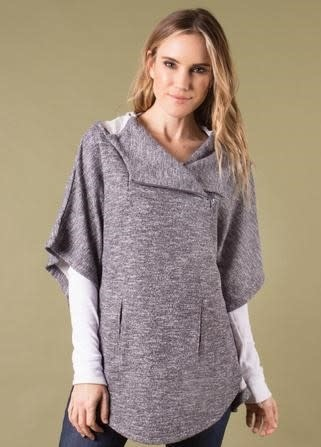 Simply Noelle Spread Your Wings Heathered Poncho (2-Colors 2-Sizes)