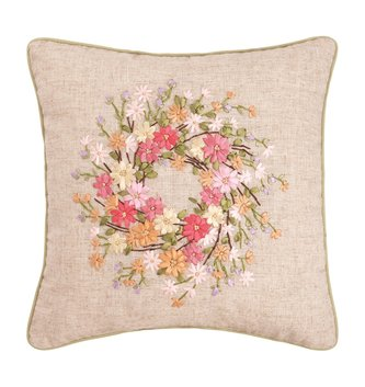 Wildflower Ribbon Wreath Pillow