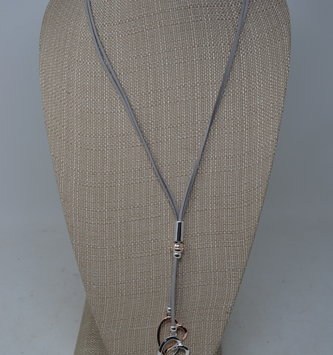 Gray Leather Double Heart Drop Necklace
