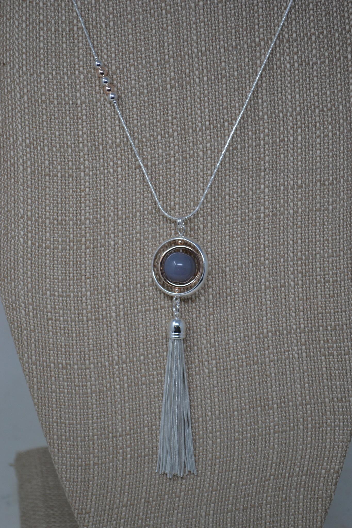 Encircled Sphere Tassel Necklace