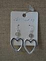 Gray Bead Open Heart Earrings