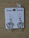 Silver Double Heart Earrings