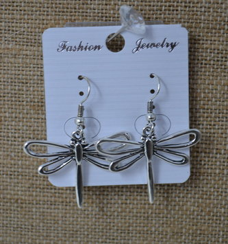 Open-Wing Silver Dragonfly Earrings