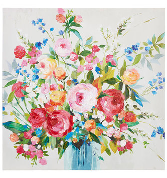 Wild Rose & Larkspur Painted Canvas Print