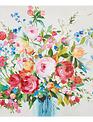Wild Rose & Larkspur Painted Canvas Print