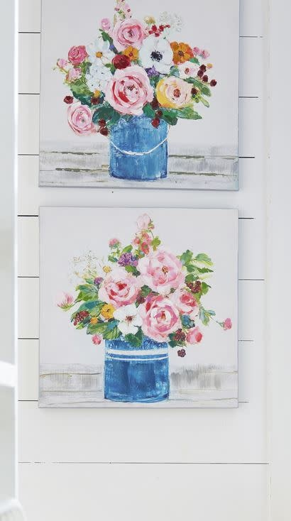 Bucket of Flowers Painted Canvas Print (2-Styles)