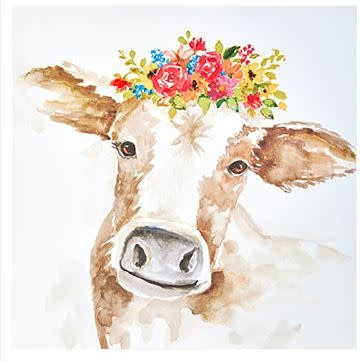 Wildflower Cow Square Canvas Print (2-Colors)