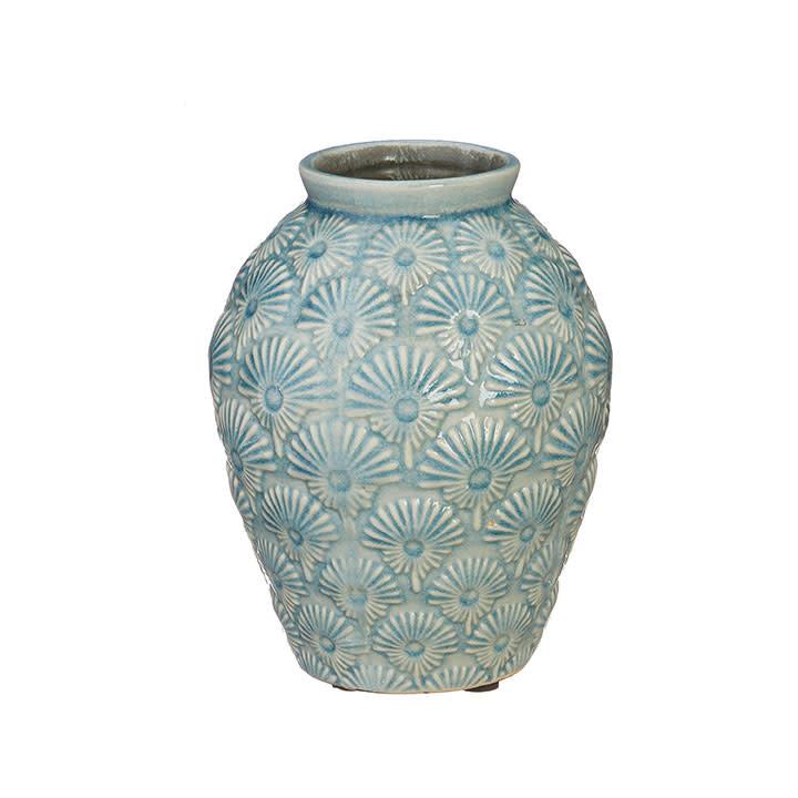 Embossed Aqua Crackle Vase
