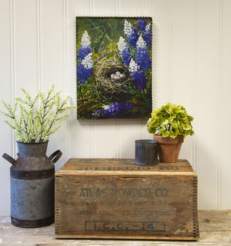 Bluebonnet & Quail Nest Painted Print