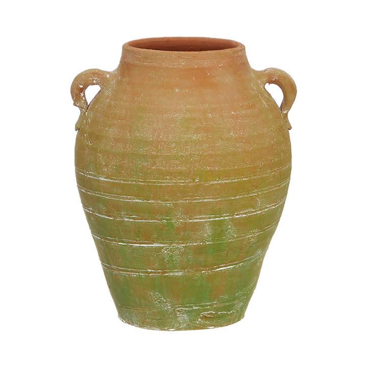 """10.75"""" Handled Terracotta Vase"""