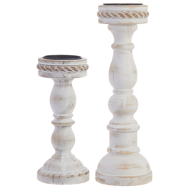 Set of 2 Whitewashed Wooden Candlesticks