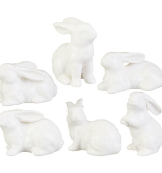 """3"""" Ceramic White Bunny"""