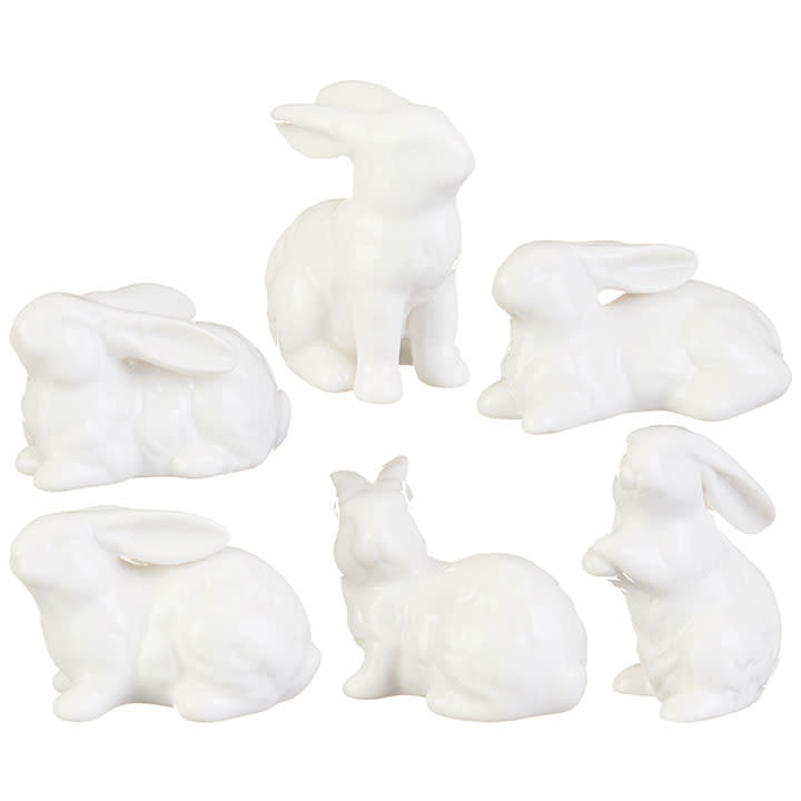 "3"" Ceramic White Bunny (6-Styles)"