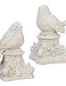 Set of 2 Gray Bird Pedestals