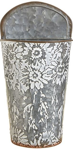 Floral Print Metal Wall Bucket (2-Sizes)