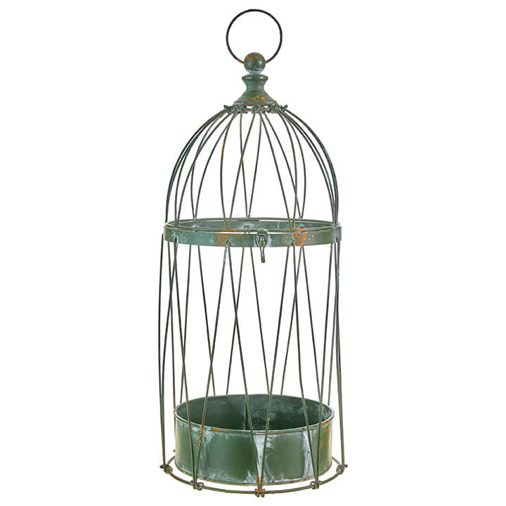 "26"" Distressed Green Birdcage"