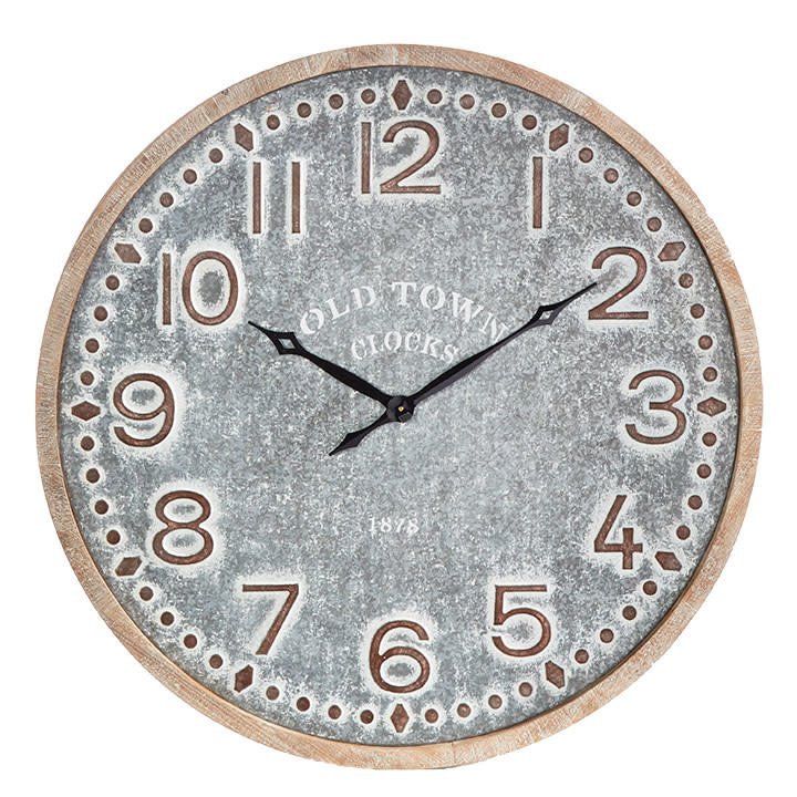 """39"""" White Washed Round Rustic Wall Clock"""