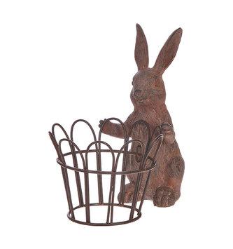 "7"" Brown Bunny with Metal Basket"