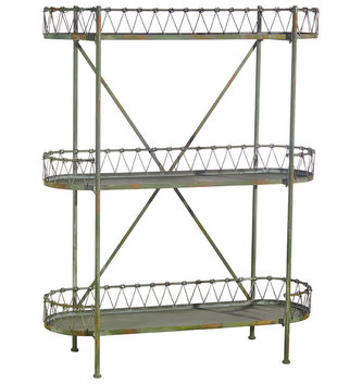 "55.5"" Distressed Green Shelving Unit"