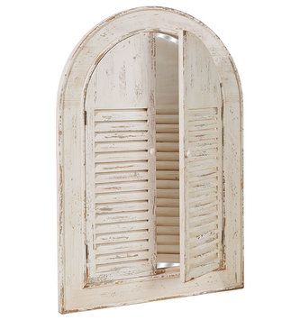 "44"" Cream Distressed Shutter Mirror Wall Art"