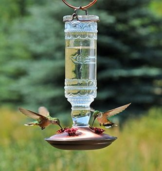 Antique Clear Hummingbird Feeder