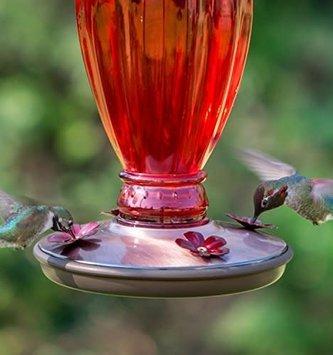 Vintage Red Glass Hummingbird Feeder