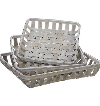 Square Gray Woven Tobacco Basket (3-Sizes)