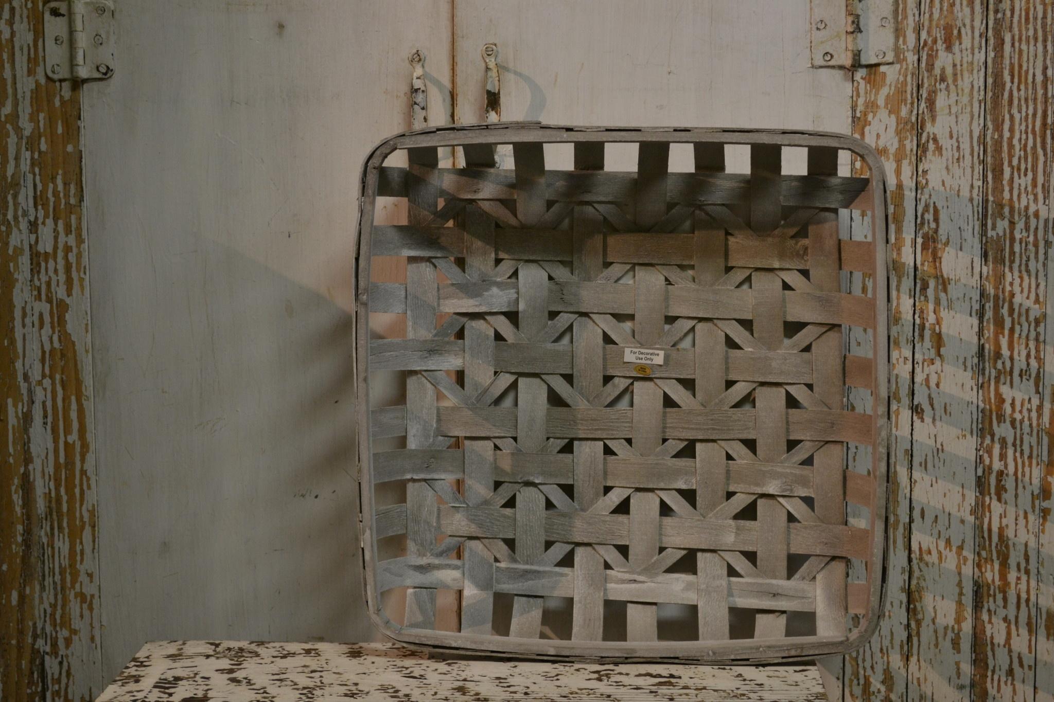 Square Gray Woven Tobacco Basket (3-Sizes)