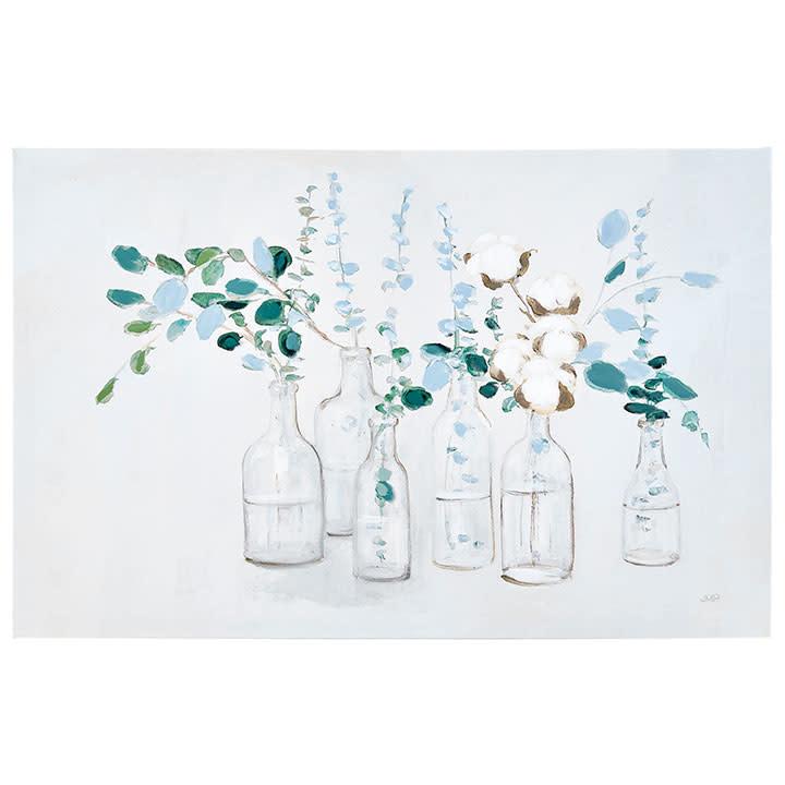 Bottles With Eucalyptus & Cotton Canvas Print