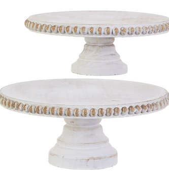 White Washed Round Wooden Pedestal (2-Sizes)
