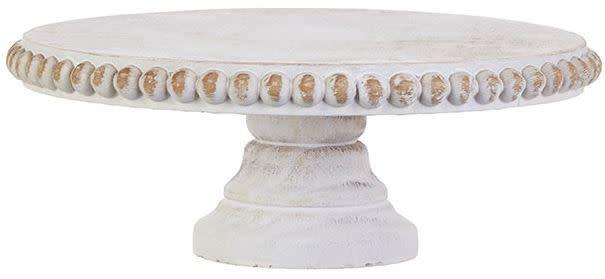 White Washed Round Wooden Pedestal (2-Sizes)