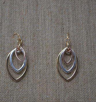 Tri-Tone Metal Drop Earrings