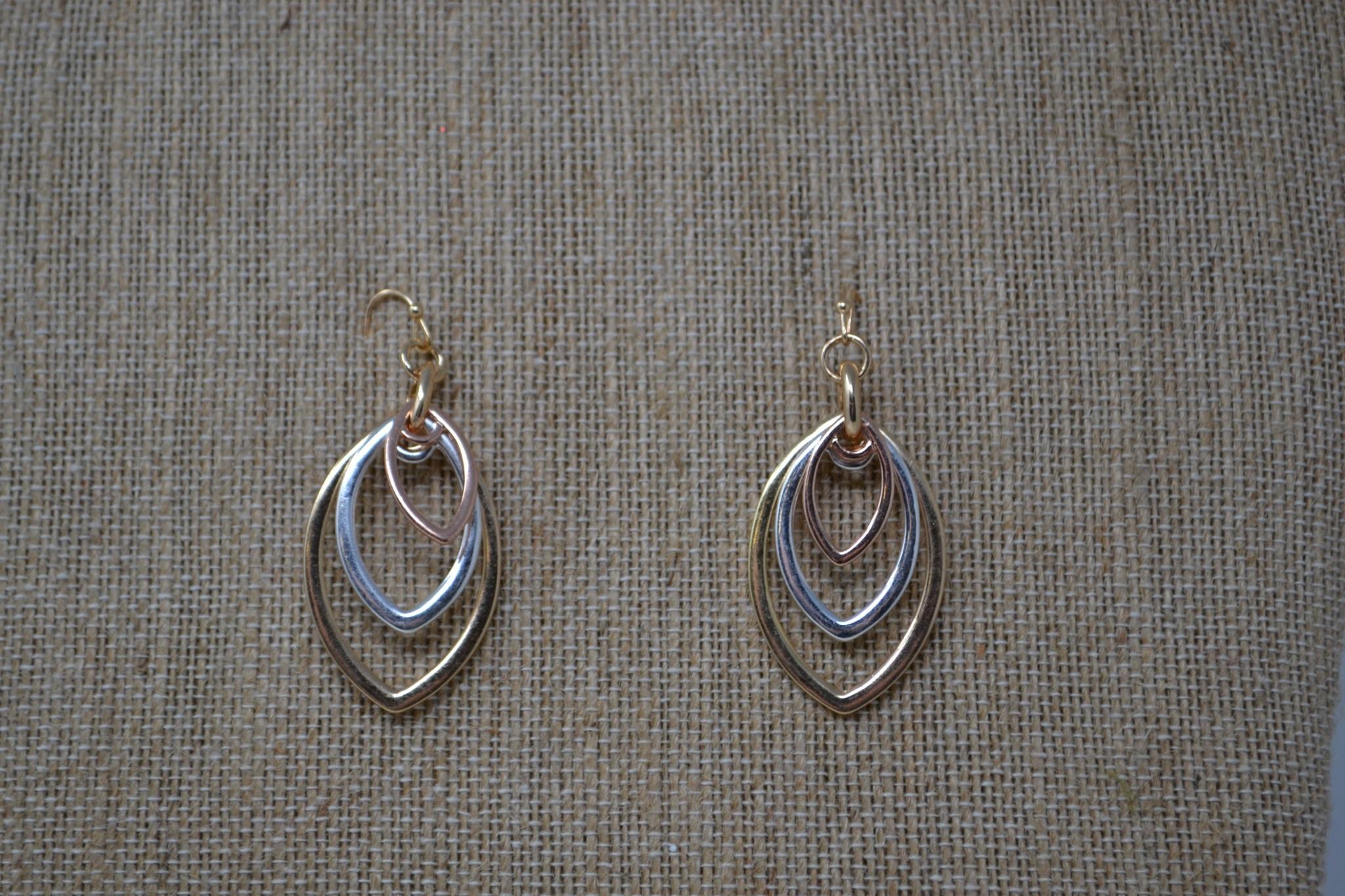 Tri-Tone Metal Drop Earrings