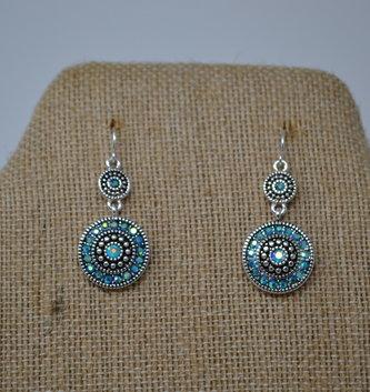 Sparkling Aqua Medallion Earrings