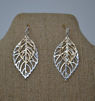 Gold & Silver Cut-Out Leaf Earrings