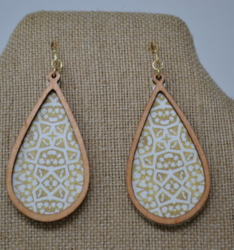 Patterned Wood-Trim Drop Earrings