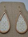 Patterned Wood-Trim Drop Earrings