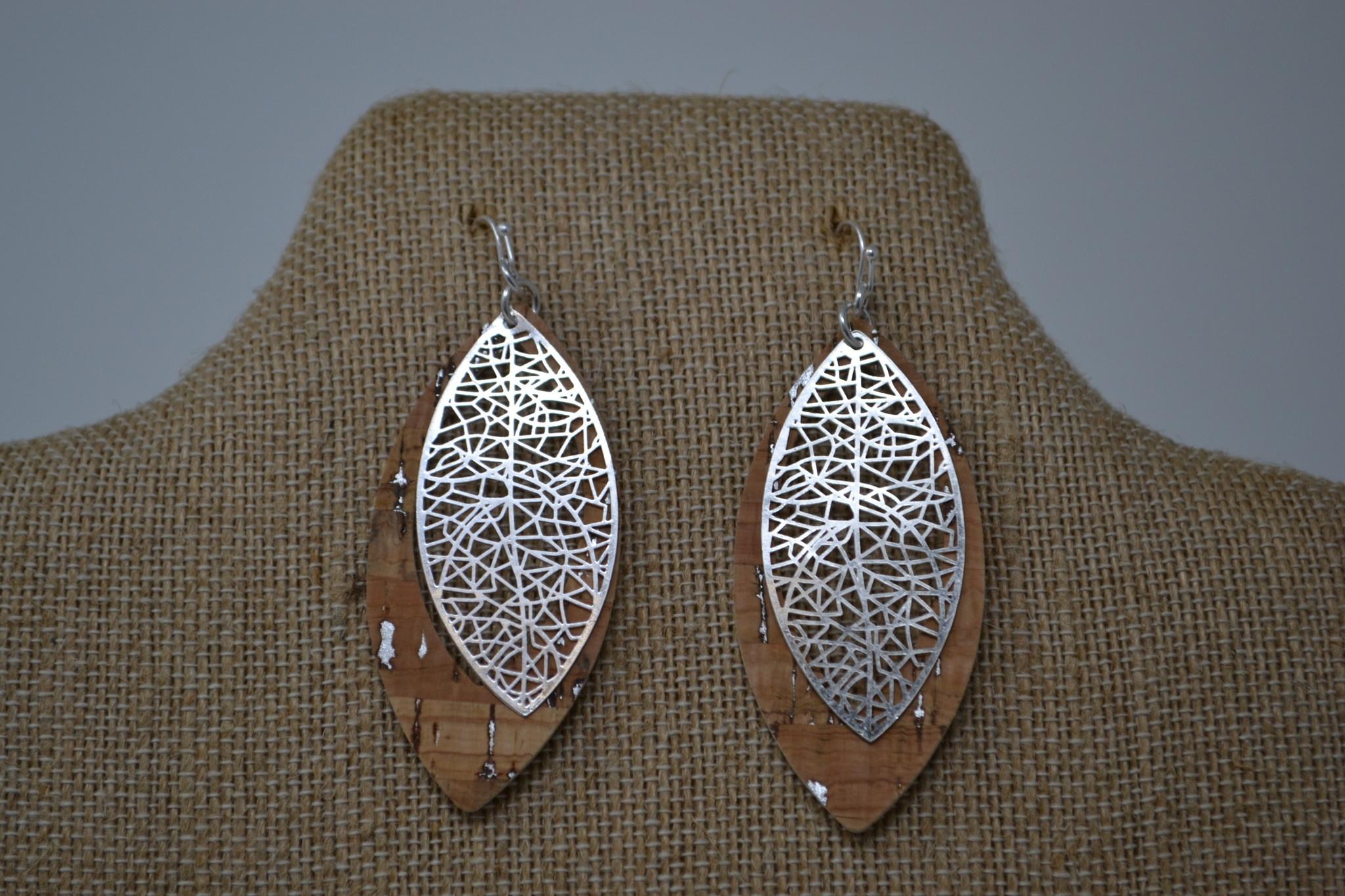 Silver & Cork Drop Earrings