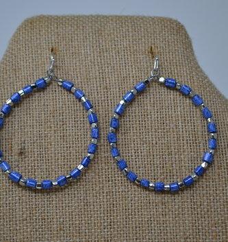 Blue & Silver Beaded Hoop Earrings