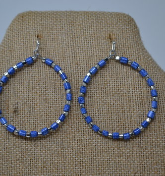Blue & Silver Beaded Hoop Earrings