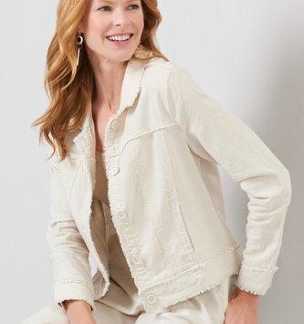 Khaki Woven Linen Jacket